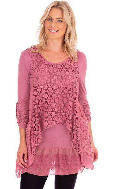 Layered Lace And Jersey Tunic Dusky Pink