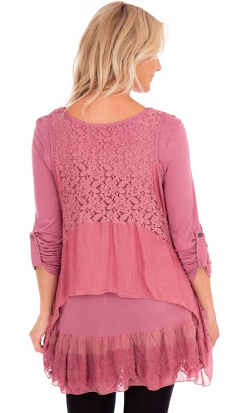 Layered Lace And Jersey Tunic Dusky Pink - Gallery Image 2