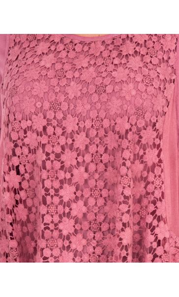 Layered Lace And Jersey Tunic Dusky Pink - Gallery Image 3