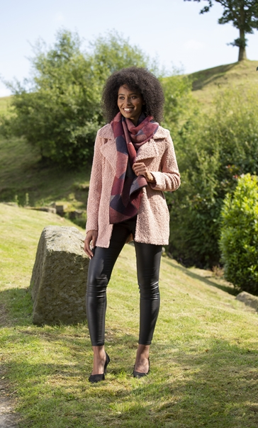Textured Sequin Trimmed Coat Dusty Pink