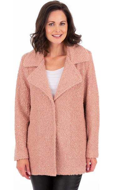 Textured Sequin Trimmed Coat Dusty Pink - Gallery Image 2