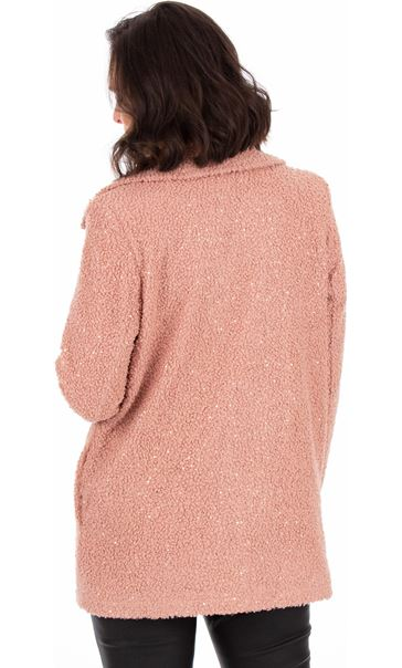 Textured Sequin Trimmed Coat Dusty Pink - Gallery Image 3