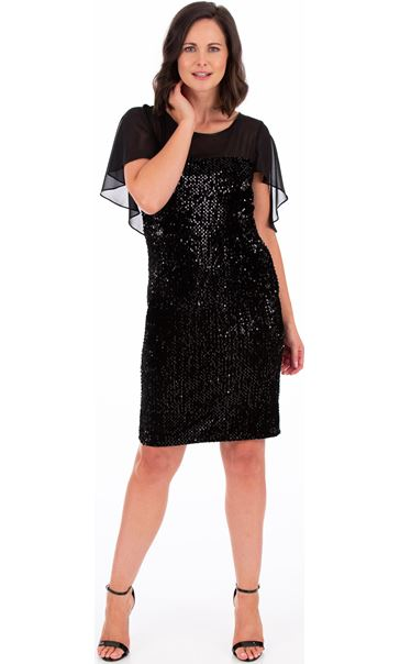 Sequin Trimmed Velour And Chiffon Dress Black
