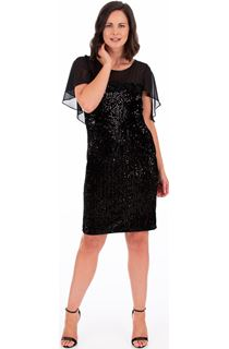 Sequin Trimmed Velour And Chiffon Dress
