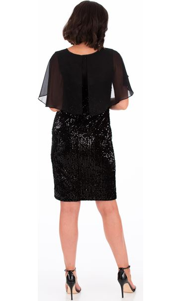 Sequin Trimmed Velour And Chiffon Dress Black - Gallery Image 2