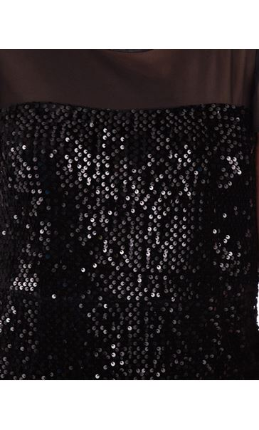 Sequin Trimmed Velour And Chiffon Dress Black - Gallery Image 3