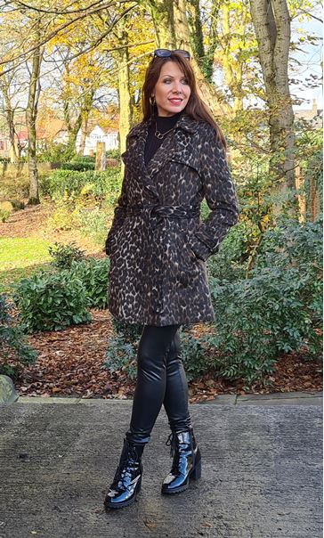 Double Breasted Leopard Print Coat Leopard