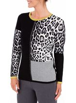 Anna Rose Embellished Colour Block Knit Top Black/Lime/Ivory - Gallery Image 1