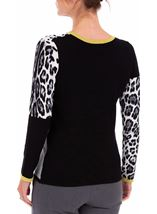 Anna Rose Embellished Colour Block Knit Top Black/Lime/Ivory - Gallery Image 2