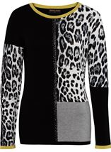 Anna Rose Embellished Colour Block Knit Top Black/Lime/Ivory - Gallery Image 3