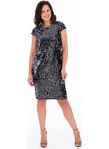 Sequinned Velour Fitted Dress