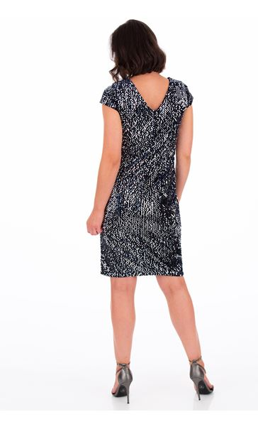 Sequinned Velour Fitted Dress - Blue