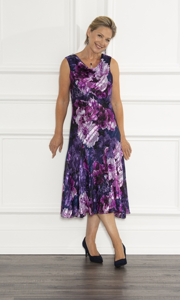Anna Rose Bias Cut Floral Midi Dress Midnight/Purple