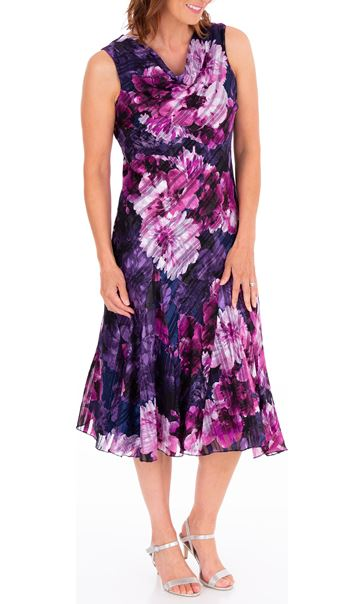Anna Rose Bias Cut Floral Midi Dress Midnight/Purple - Gallery Image 3