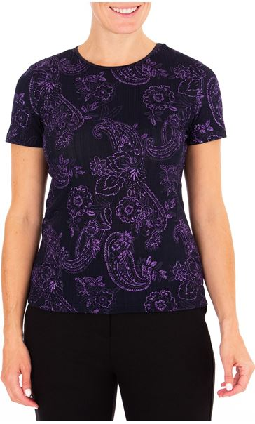 Anna Rose Glitter Print Short Sleeve Top Blue - Gallery Image 1