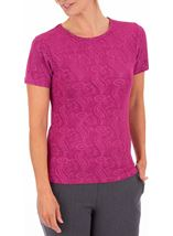 Anna Rose Short Sleeve Textured Top Pink - Gallery Image 1