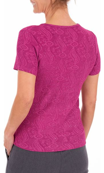 Anna Rose Short Sleeve Textured Top Pink - Gallery Image 2