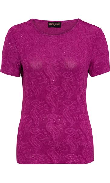 Anna Rose Short Sleeve Textured Top Pink - Gallery Image 4