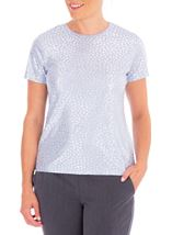 Anna Rose Foil Printed Jersey Top Lilac/Silver - Gallery Image 1