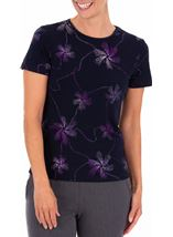 Anna Rose Short Sleeve Glitter Jersey Top Midnight/Purple - Gallery Image 2