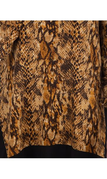 Snake Print Brushed Knit And Georgette Panel Top Browns - Gallery Image 3