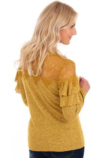 Lace Trim Long Sleeve Knit Top