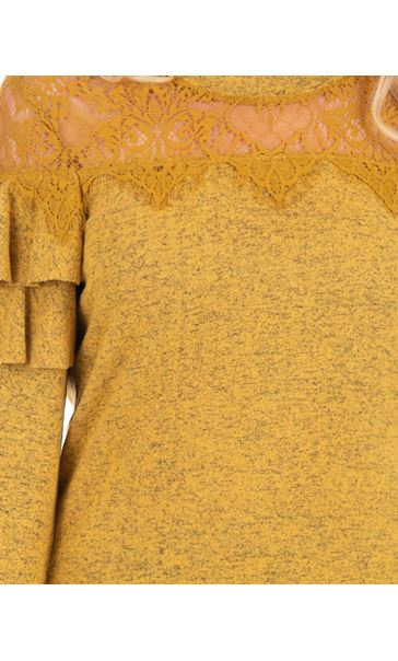 Lace Trim Long Sleeve Knit Top Mustard - Gallery Image 3