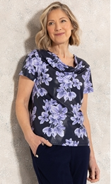 Anna Rose Cowl Neck Floral Print Top Midnight/Purple - Gallery Image 1