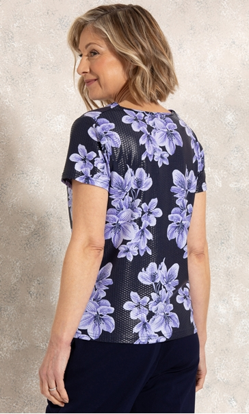 Anna Rose Cowl Neck Floral Print Top Midnight/Purple - Gallery Image 2