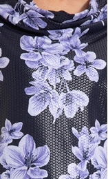 Anna Rose Cowl Neck Floral Print Top Midnight/Purple - Gallery Image 3