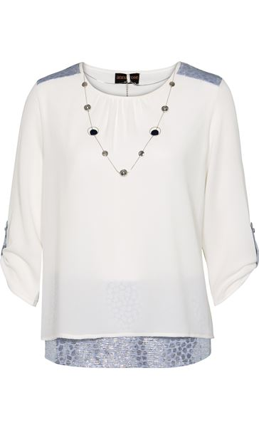 Anna Rose Lined Crinkle Crepe Top With Necklace Ivory