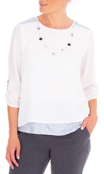 Anna Rose Lined Crinkle Crepe Top With Necklace Ivory - Gallery Image 2