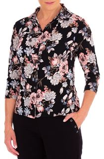Anna Rose Floral Printed Jersey Blouse With Necklace