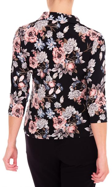 Anna Rose Floral Printed Jersey Blouse With Necklace Black/Dusty Pink - Gallery Image 2