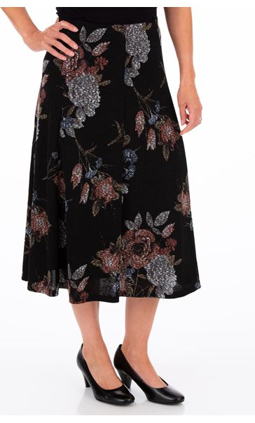 Anna Rose Printed Panelled Midi Skirt Black/Dusty Pink/Grey