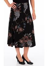 Anna Rose Printed Panelled Midi Skirt Black/Dusty Pink/Grey - Gallery Image 1
