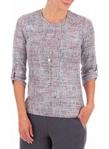 Anna Rose Printed Knit Top With Necklace Grey/Pink - Gallery Image 1