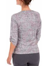 Anna Rose Printed Knit Top With Necklace Grey/Pink - Gallery Image 2