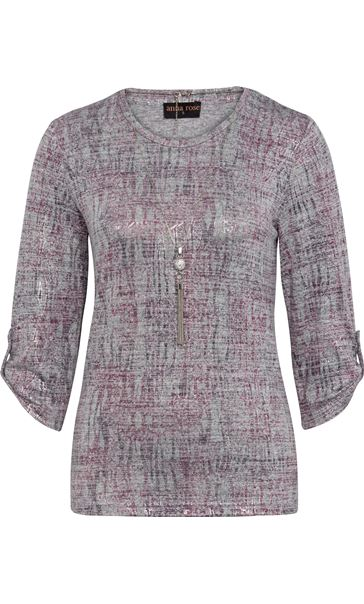 Anna Rose Printed Knit Top With Necklace Grey/Pink - Gallery Image 3