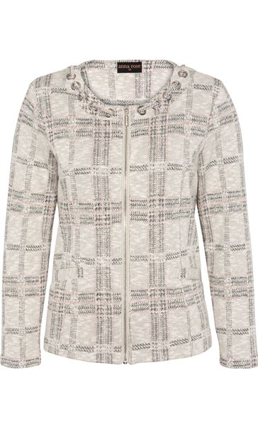 Anna Rose Checked Zip Jacket Grey/Dusty Pink - Gallery Image 4