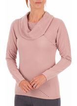 Anna Rose Cowl Neck Knit Top Pink - Gallery Image 1