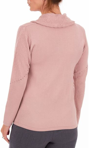 Anna Rose Cowl Neck Knit Top - Pink