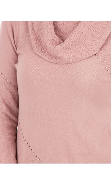 Anna Rose Cowl Neck Knit Top Pink - Gallery Image 3