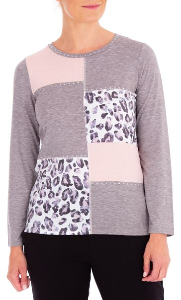 Anna Rose Embellished Panelled Jersey Top Grey Marl/Dusty Pinks - Gallery Image 1