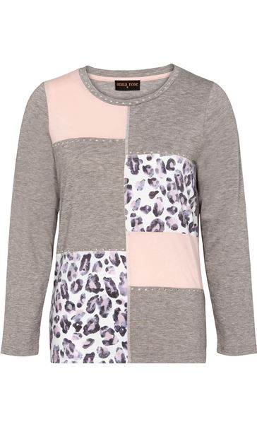 Anna Rose Embellished Panelled Jersey Top Grey Marl/Dusty Pinks - Gallery Image 3