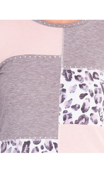 Anna Rose Embellished Panelled Jersey Top Grey Marl/Dusty Pinks - Gallery Image 4