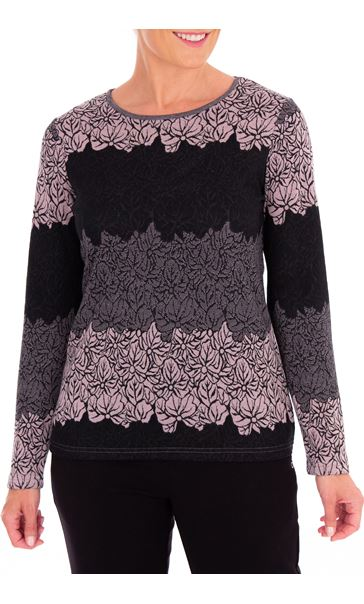 Anna Rose Knitted Jacquard Top Black/Dusty Pink