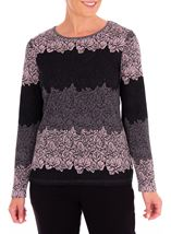 Anna Rose Knitted Jacquard Top Black/Dusty Pink - Gallery Image 1