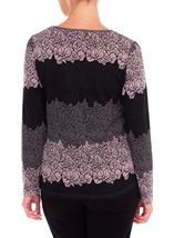 Anna Rose Knitted Jacquard Top Black/Dusty Pink - Gallery Image 2