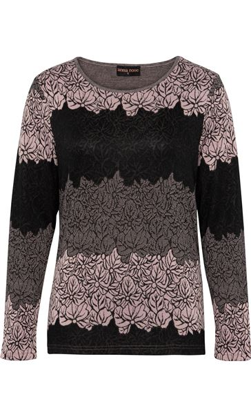 Anna Rose Knitted Jacquard Top Black/Dusty Pink - Gallery Image 3